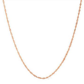 100% Real Pure 925 Sterling Silver chain necklace rose gold color slim chain