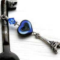 Eiffel Tower Pendant, Blue Heart Pendant, France, Paris, French Blue, Sterling Silver, French Jewelry by MayaHoney