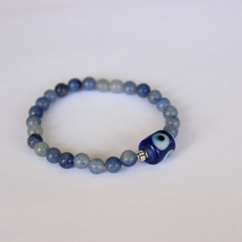 Blue Aventurine Evil Eye Protection Bracelet, Genuine Indian Handmade Glass Bead
