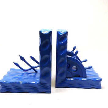 vintage bookends, nautical, upcycled wood, rustic, blue, cobalt, desk, home accents, man cave, ships, sea, trident, bookend