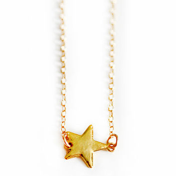 gold STAR necklace by shopkei on Etsy