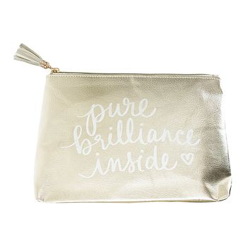 Pure Brilliance Inside Hand Lettered Zipper Pouch in Metallic Gold