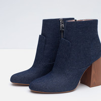 HIGH HEEL DENIM ANKLE BOOTS