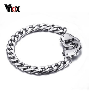 Vnox Handcuff Bracelet for Women / Men Promise Jewelry Stainless Steel Chain High Quality