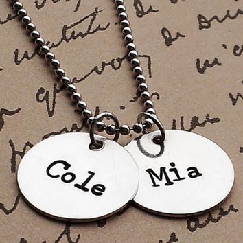 2 names Hand Stamped personalized Mommy necklace Sterling Silver Necklace