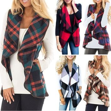 STYLEDOME Vest Turndown Collar Cloak Jacket Plaid Cardigan Casual Women Waistcoat