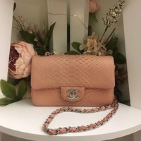 Authentic Chanel Light Pink Python Rectangular Mini Flap Bag Silver Hardware