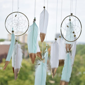 Baby Mobile, Large  Dreamcatcher Mobile, Boho Nursery Decor, Cottage Chic Decor, Mint and White Feather Mobile, Woodland  Nursery,
