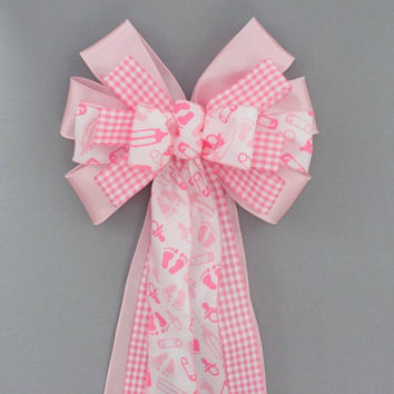 Pink Baby Feet Girl Baby Shower Bow