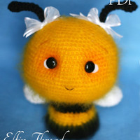 Elfin Thread - Fuzzy Bee Amigurumi Pattern (bee crochet pattern) PDF