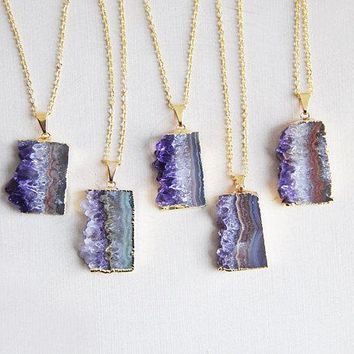 Raw Sliced Amethyst Necklace & Pendant