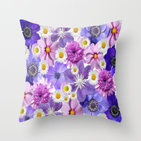 Floral Bouquet Throw Pillow by kasseggs