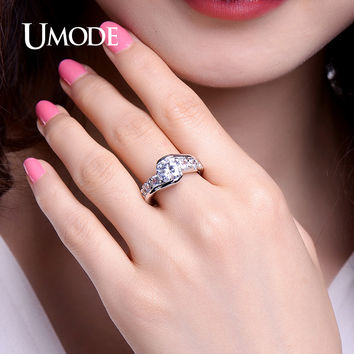UMODE Unique White Gold Color CZ Stones Vintage Design Bypass Rings Wedding Engagement Inlay Jewelry For Women Anel UR0334