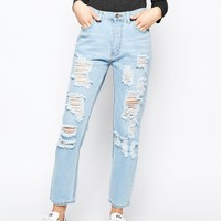 Good Vibes Bad Daze Ripped High Waisted Slim Jeans