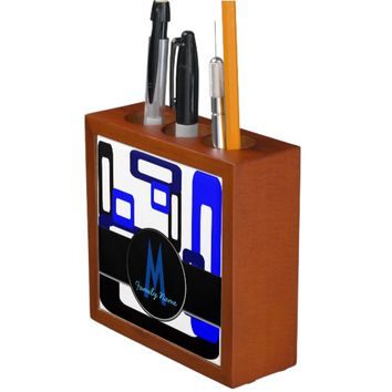 Stylized Rectangles Purple/Black Pencil/Pen Holder