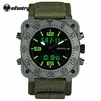 Mens Quartz Watches Military Army Digital Watch INFANTRY Square Face Mens Waterproof Date Clock LED Display Relogio Masculino