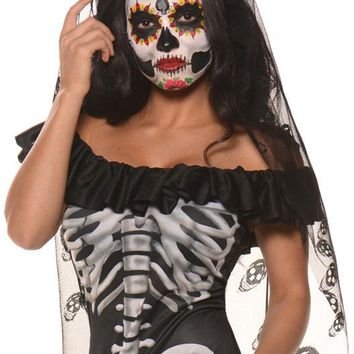 costume accessory: day of the dead mantilla roses and skulls