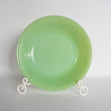 Jadeite Soup Bowl, Vintage Fire King Jane Ray Dish, Round Mint Green Bowl