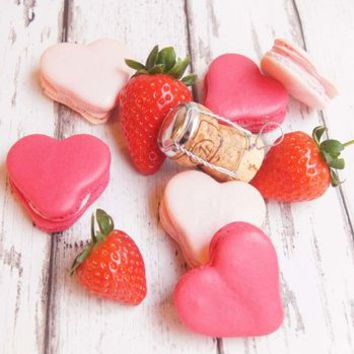 Box Of Five Champagne And Strawberry Heart Macarons