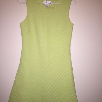 Vintage 90's lime green sheath dress/scallop texture fabric/size small/mini dress