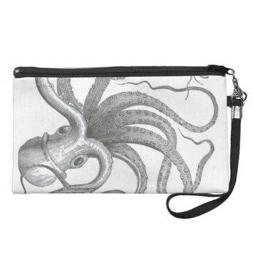 Nautical steampunk octopus vintage book drawing wristlet purses