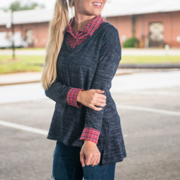 I'm Plaid About You Top, Navy