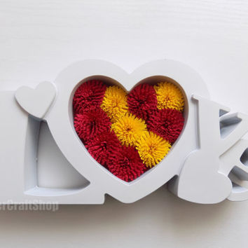 heart home decor, love art, love sign, symbol of love, I love you, love ornament, love decoration, paper heart, red yellow flower, ilu