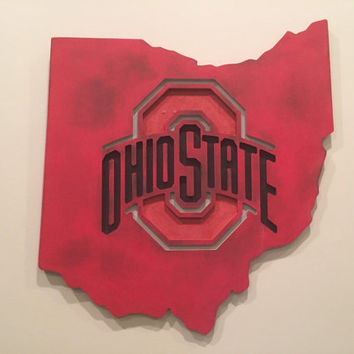 OSU Buckeyes sign! OSU sign custom  & hand painted, for man cave, college football sign, Ohio State sign, OSU wall decor, college football