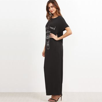 Black Graphic Print Maxi Tee Dress