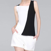 Black and White Slim Fit Chiffon Blouse
