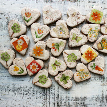 Country wedding favors heart magnets cottage chic guest favors bridal shower yellow orange green off white spring flowers rustic garden