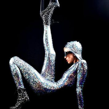 The Original Joysuit: Silver Holographic Bodysuit From Mars Delivered Straight To Your Earth Home