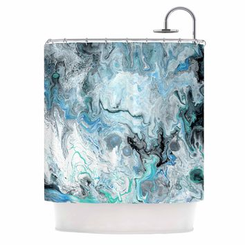 "Catherine Holcombe ""Wave Crash Marble"" Blue Teal Abstract Coastal Painting Shower Curtain"