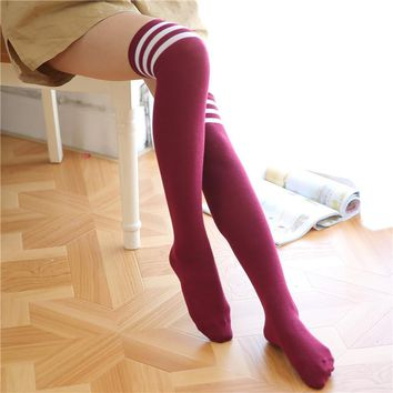 KNEE HIGH SOCKS Women's Stockings Leggings Long Sexy Girls Striped (12 Colors)