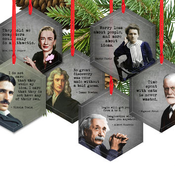 Famous Scientists Glass Ornament Collection