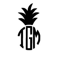 Pineapple Monogram Decal / Custom Vinyl Monogram Decal / Vine Monogram / Monogram / Fancy Monogram / Monogram Car Decal
