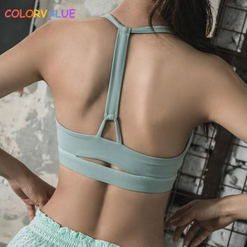 Colorvalue High Impact Sport Fitness Bra Vest Women Push Up Fitness Yoga Bra Top Plus Size Solid Workout Athletic Underwear