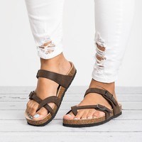 Criss Cross Footbed Sandals - Brown