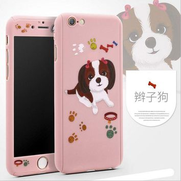 New Cute Cartoon Case Cat Dog Monkey Pattern For iPhone 7 PC Hard Case Shockproof For 6 6S Plus Mobile Phone Shell Back Cover