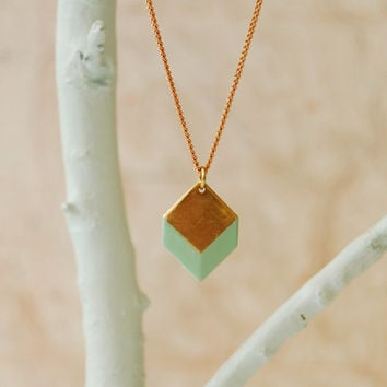 Geometric Necklace, Brass 3D Geometric, The Sabine Square II