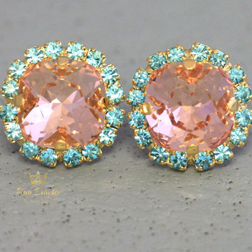 Blush Pink Aquamarine Earrings Blush Pink Stud Earrings Gift For Woman, Blue Pink Earrings Bridal Earrings, Bridesmaids Jewelry Peach Studs