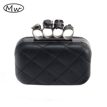 2017 HOT Free shipping Evening Bag Fashion Skull Bag With Rhinestone Clutch Bag, PU Leather Purse,Skeleton Bag, Clutches EB086