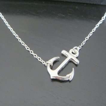 Sterling Silver Simple Sideways Anchor Necklace Earrings Bridal Jewelry Bridesmaids Gift Birthday Christmas Celebrity Inspired Jewelry