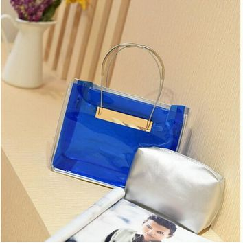 Transparent Women Handbag Purse Solid Casual Tote Shoulder Bag Jelly  Composite Bags Teenager Girl Small 2017 Fashion Summer