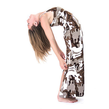 Brown camouflage maxi dress