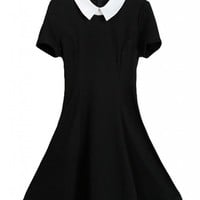 QUANGANG Women's Summer Doll Collar Slim Ruffle Frill Tunic Pleated Dress