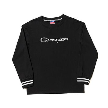 Champion Tide brand couple classic embroidery logo sports and leisure hooded hoodie Black