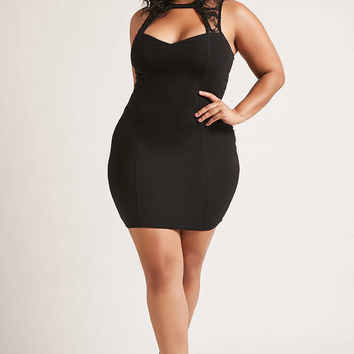 Plus Size Lace Cutout Dress