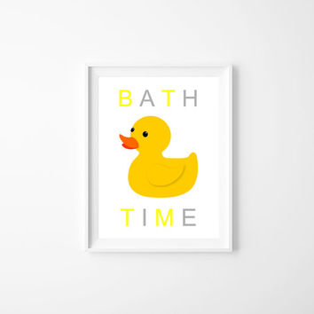 Rubber Duck Print , Bath Time Nursery Poster Print, Yellow and gray, Baby's Room Decor, Splash Splash Baby, Baby Shower Gift