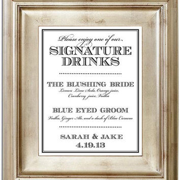 Signature Drink 8x10 Wedding Sign - Customized Personalized Typography Art Print